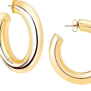 Large Hoop Earrings in Gold