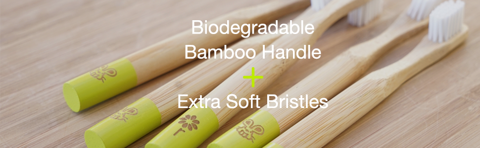 Biodegradable, sustainable bamboo and extra soft bristle for gentle cleaning