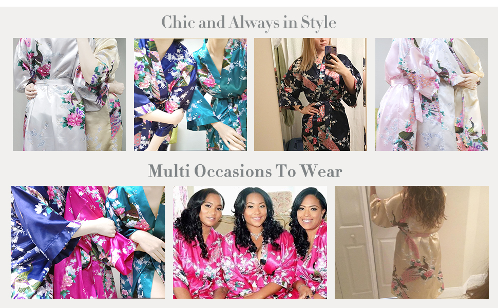 Ellenwell Floral Peacock Satin Kimono Robes Bridesmaid Gifts for Bridal Party Wedding Robes