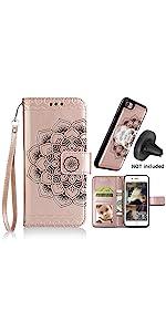 iPhone 8 Case,iPhone 7 iPhone 8 Wallet Cases card holder Magnetic detachable women Car mount Mandala