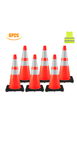 """6 Traffic Cones 28"""""""