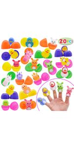 20PCs Easter eggs prefilled Rubber Finger Puppet