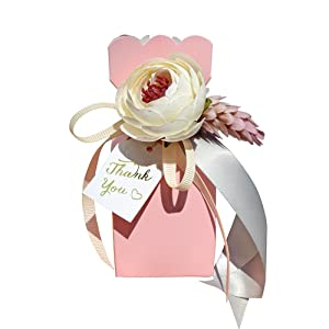 Pink favor boxes