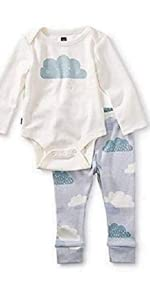 2-Piece Bodysuit Baby Outfit, Chalk, Cloud Design with White Top and Blue Pants