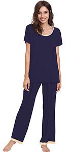 short sleeve pajamas long pants pajama set bamboo rayon sleepwear wicking sleep night shirt jammies