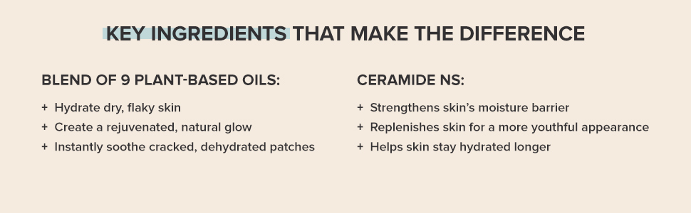 Nourishing plant-based oils creates a natural glow. Ceramide helps skin stay hydrated longer.