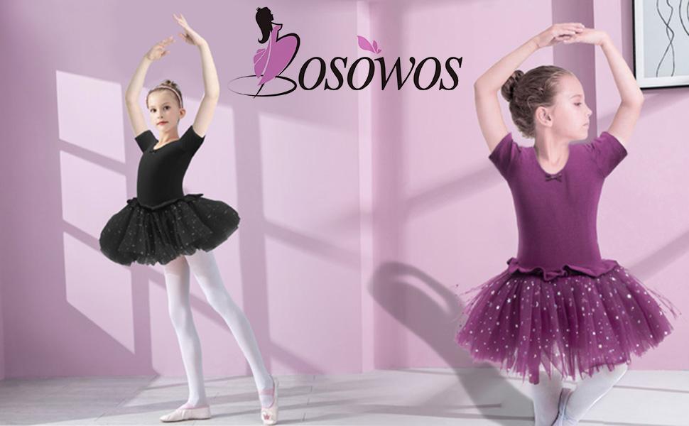 Girls Skirted Leotard, Dance Dress Ballet Dancewear, Short Sleeve Glitter Tutu