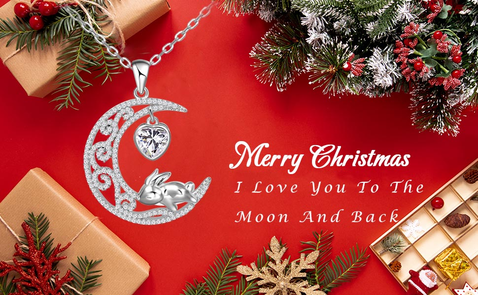 moon necklace for women girls bunny moon necklace rabbit necklace for girls Christmas gift for women