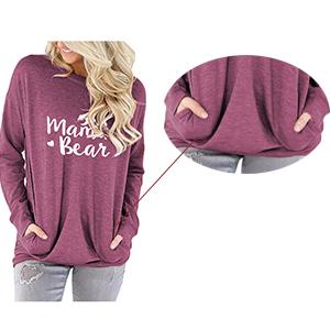 mama t shirts pocket shirt for women long sleeve mama bear tunic tops casual loose fitting
