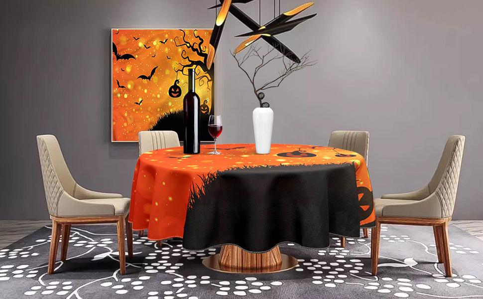 halloween evil night round table cloth