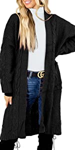 Womens Kimono Cable Knit Cardigan Sweaters Open Front Long Sleeve Casual Sweater Coats with Pockets