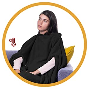 cover all your body wearable blanket hooded blanket sherpa double layer snuggie blanket for adults