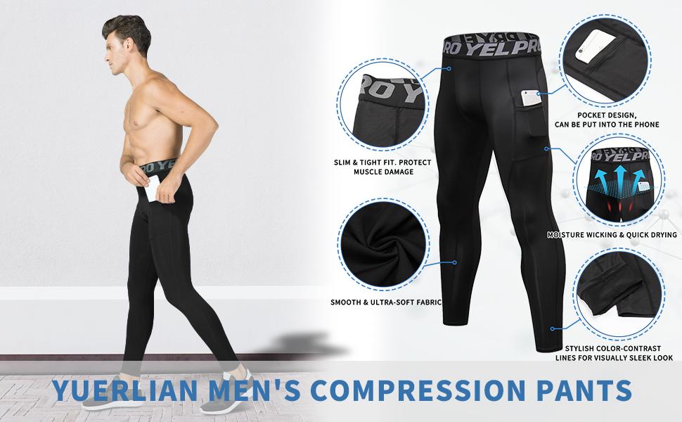 Yuerlian men`s compression pants