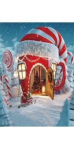 Christmas Cartoon House Backdrop