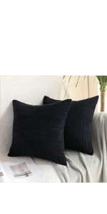 curduroy pillow cover covers cases black dark color soft comfortable comfy cozy exquisite textured
