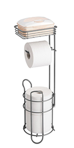 Metal Toilet Tissue Reserve Plus with Top Shelf in Graphite Gray