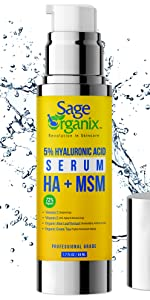 Sage Organix Facial Serum Organic Natural 5% Hyaluronic Acid Reduce Inflammation Collagen Production