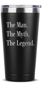 The Man Myth Legend - 16 oz Black Insulated Stainless Steel Tumbler w/Lid Mug Cup for Men