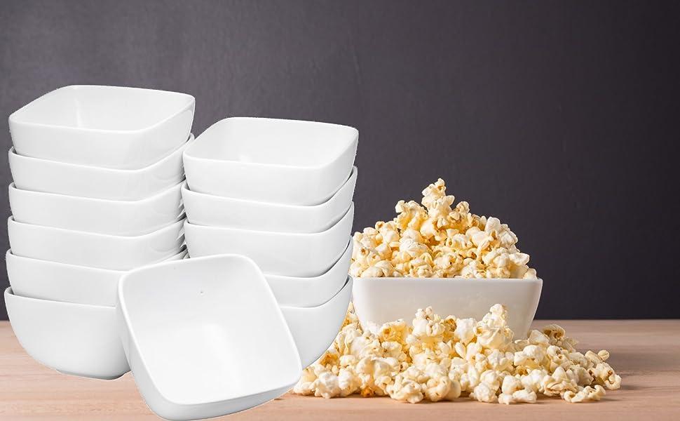 Porcelain Soup Bowls, Cereal Bowls, 12 Packs, White serving bowls popcorn bowls