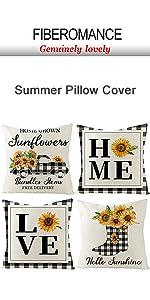 Buffalo Plaid Sunflower Summer Pillow Cover