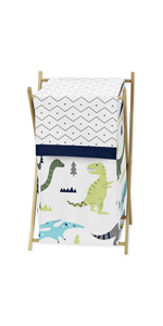 Baby Children Kids Clothes Laundry Hamper for Blue and Green Modern Dinosaur Bedding Set
