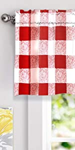 checker window valance 52 18 red