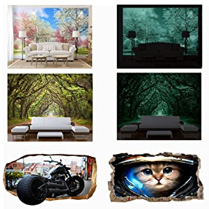 wallpaper 3d mural glow in the dark poster for bedroom kids big large nature landscape teens boys