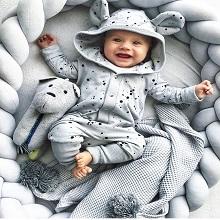 crib bumper grey