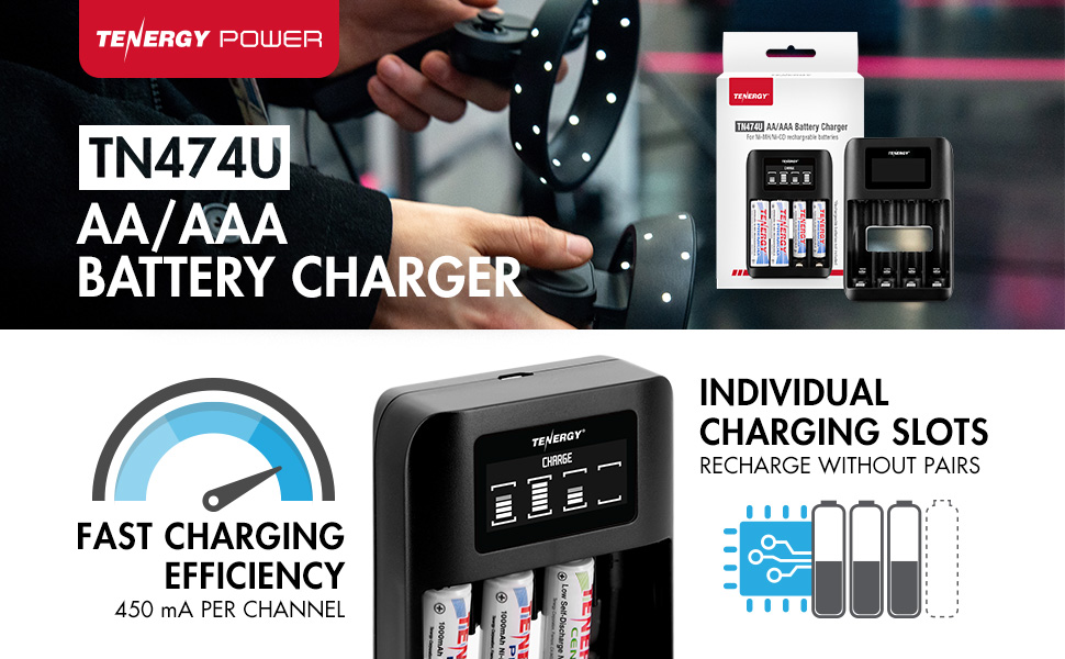 TN474U AA/AAA Battery Charger with fast charging efficiency and individual charging slots
