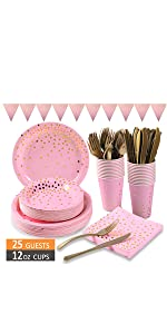 pink and gold party supplies.125