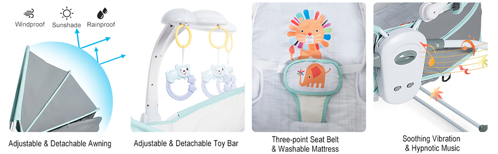 rocking bassinet with canopy, toy, music, vibration, safety belt
