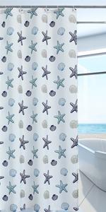 Waterproof Seashell Starfish Window Curtain,1 Panel