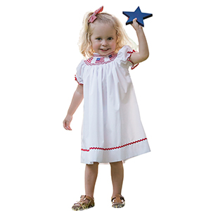 Girl Patriotic clothing dresses dress 4th of July USA FLAG smocked summer Independence Day President