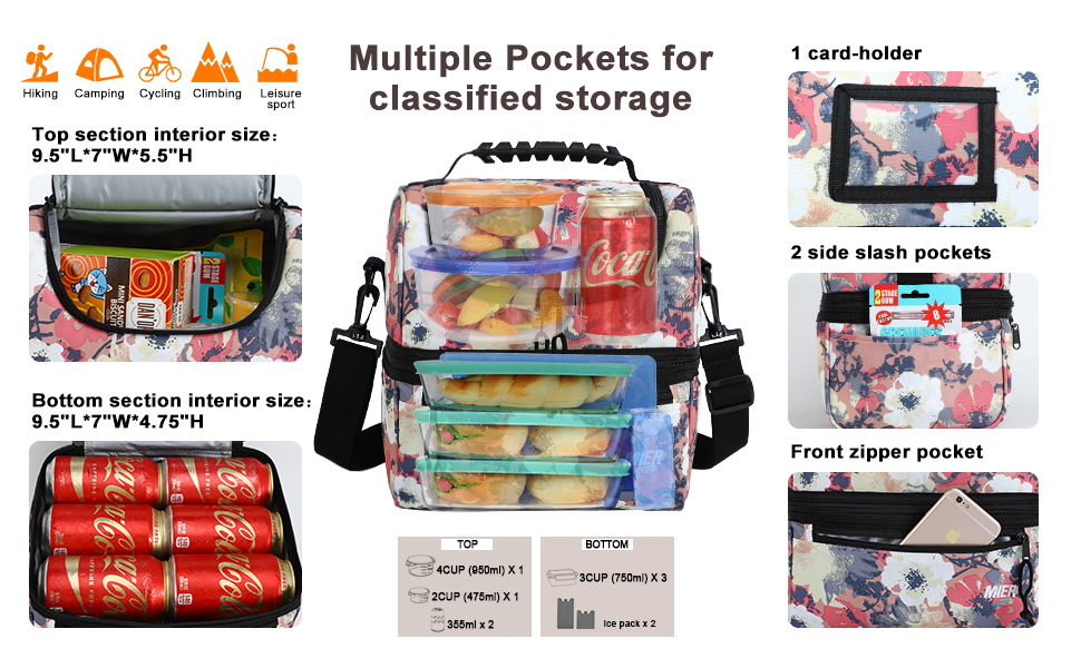 large lunch bag with multiple pockets
