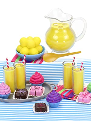 lemonade set, cupcakes, treats, doll food