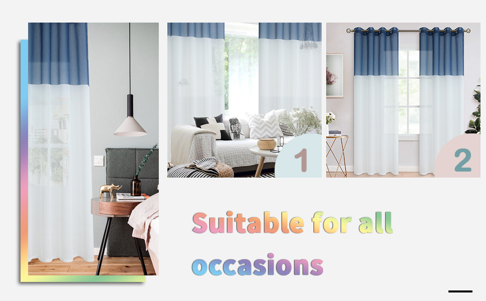 color block sheer curtains for living room