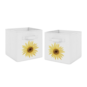 Yellow, Green and White Sunflower Boho Floral Foldable Fabric Storage Cube Bins Toys Kids Childrens