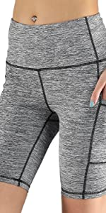 Stretchy Shorts Womens Bike Shorts with Pocket Soft Yoga Running Boxing Short Gray Leopard Print