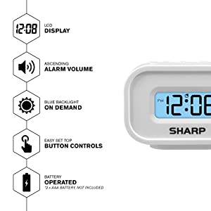 battery operated clock easy to use clock  backlit design travel alarm