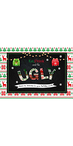 Ugly Holiday Christmas Photography Backdrop 7x5ft Vinyl Family Winter Kids
