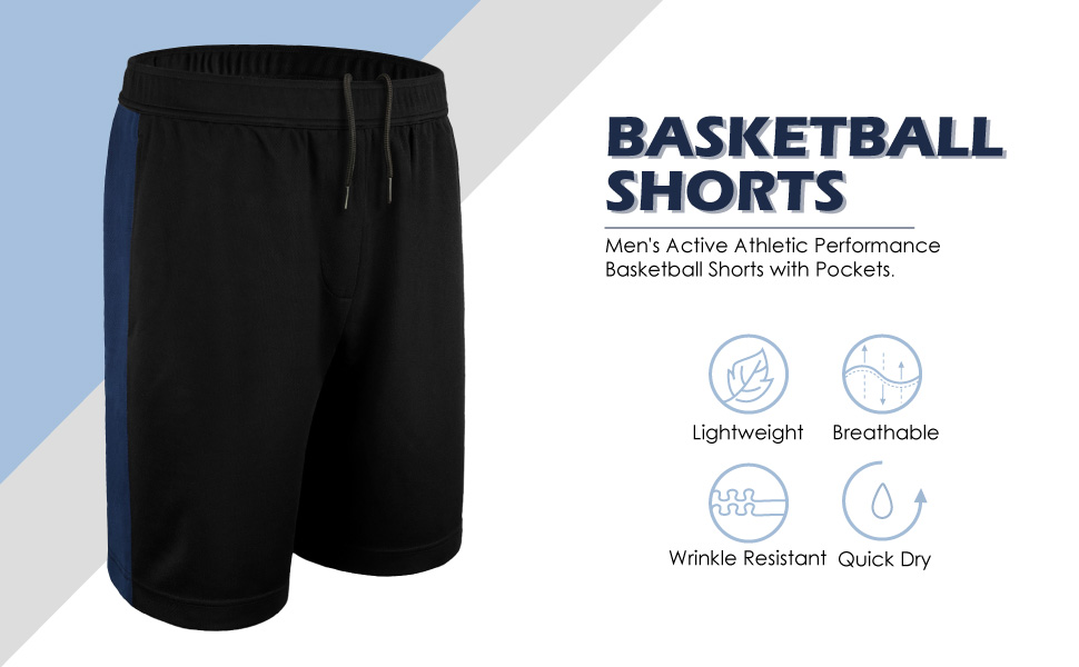 DISHANG Mens Performance Basketball Shorts Active Athletic Lightweight Workout Gym Shorts with Side Pockets Mesh Design