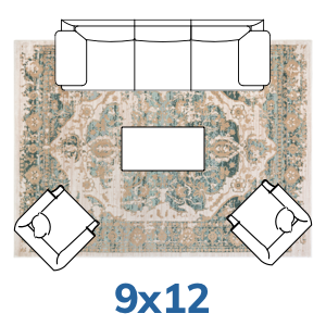 Well Woven Vintage Farmhouse rug placement guide 9x12 9x13 size.