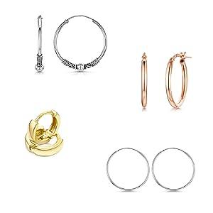amberta women jewelry hoop earrings hinged sleeper 925 sterling silver plated gold yellow rose bali
