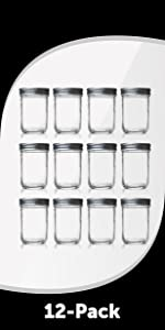 6.75 Oz glass jar with Separate steel Lids and Bands