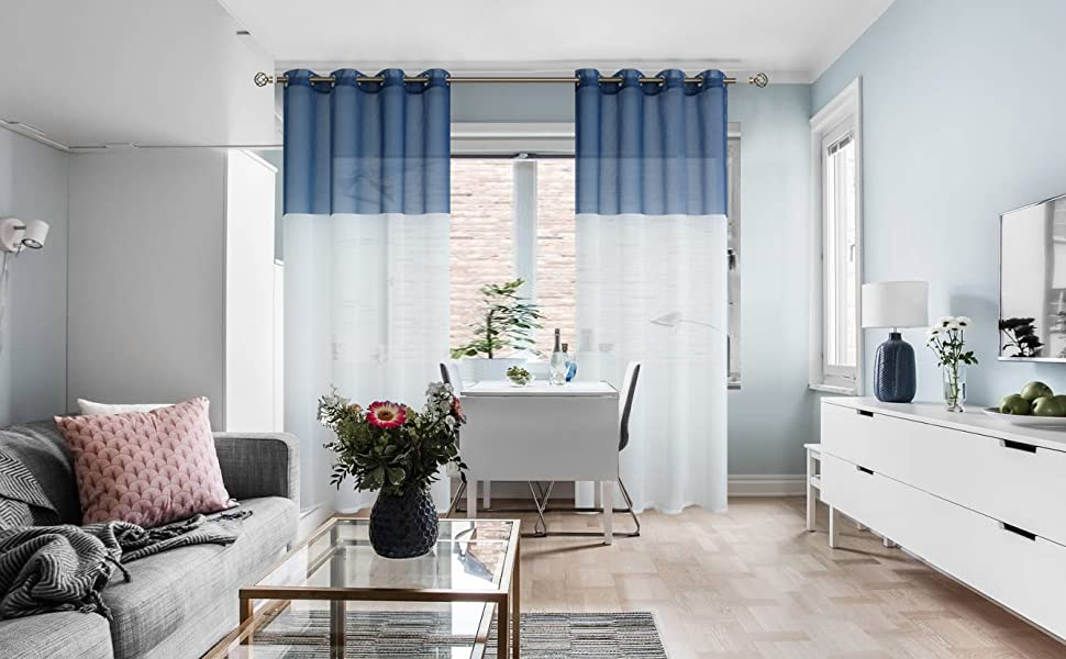 bgment color block sheer curtains