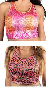 neon bright colored crop top pattern tank top shiny print animal pink orange blue