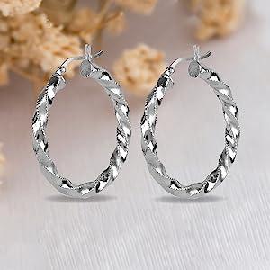 Sterling Silver Click-Top Hoop Earring