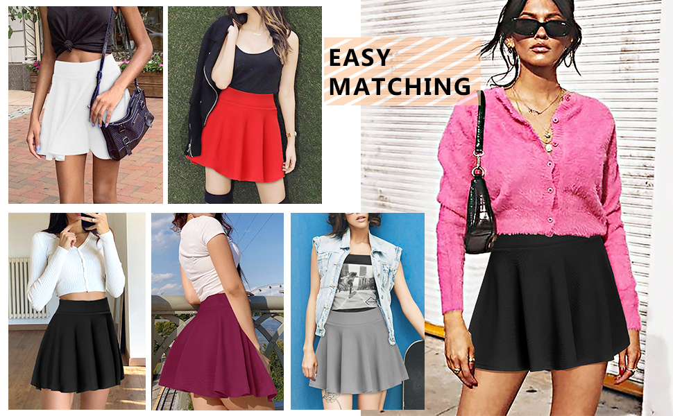 Women Tennis Skirt with Pockets Athletic Golf Skorts Casual Flared Pleated Skater Skirts with Shorts