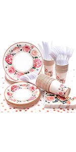 Vintage Floral Party Supplies, (Serves 24) Disposable Paper Plates, Napkins, Cups, Knives, Spoons