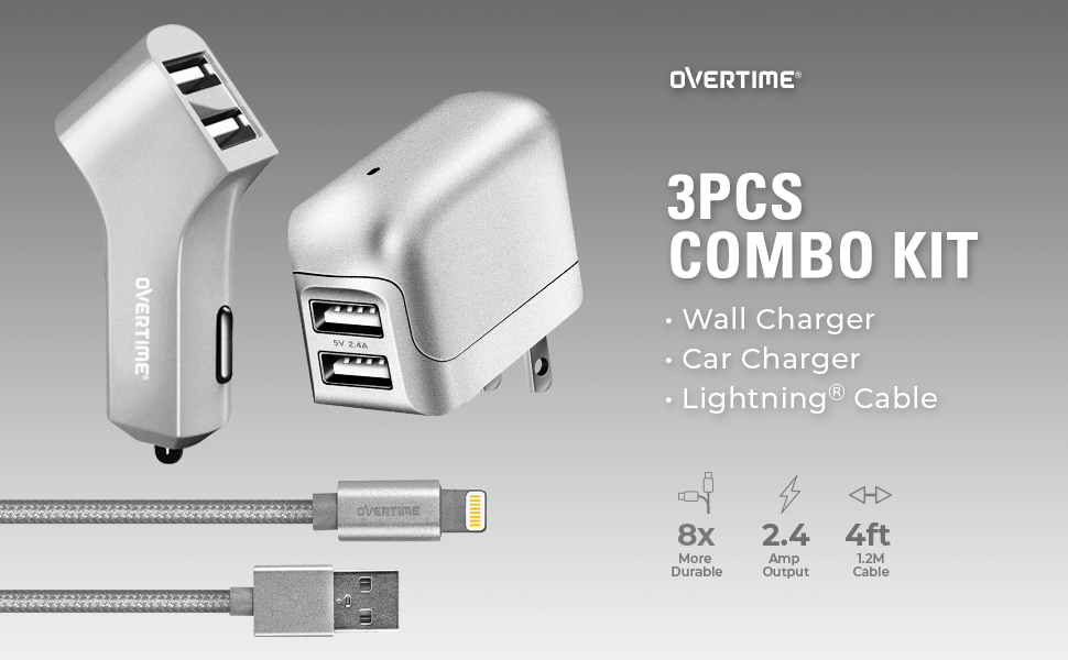 Overtime Charger kit with lightning USB cable Dual Port Car Wall Charger 4ft cord apple certified